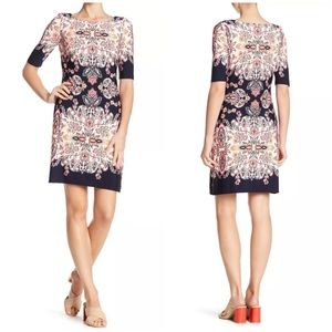 Eliza J Printed Elbow Length Sleeve Shift Dress